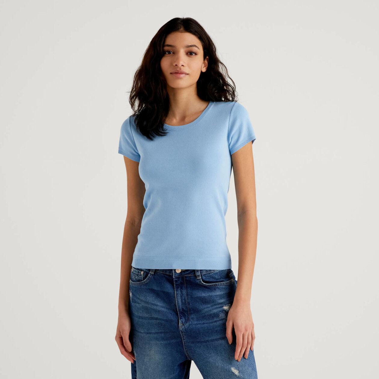 Short sleeve cotton sweater