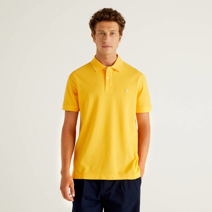 Yellow regular fit polo