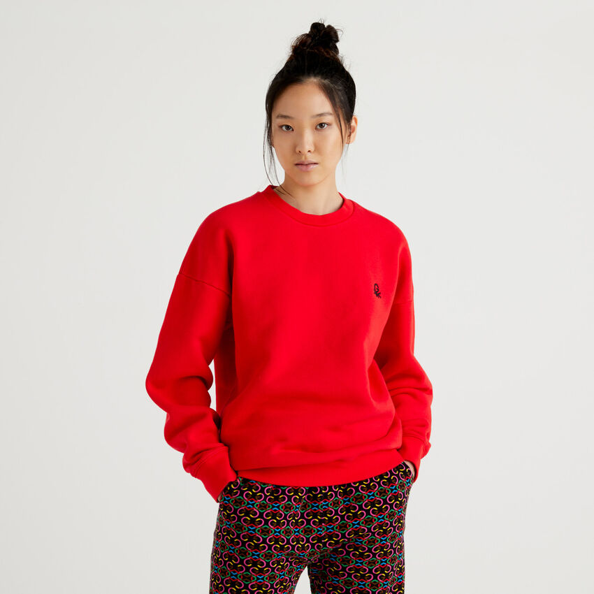 Red unisex sweatshirt with embroidery and print by Ghali