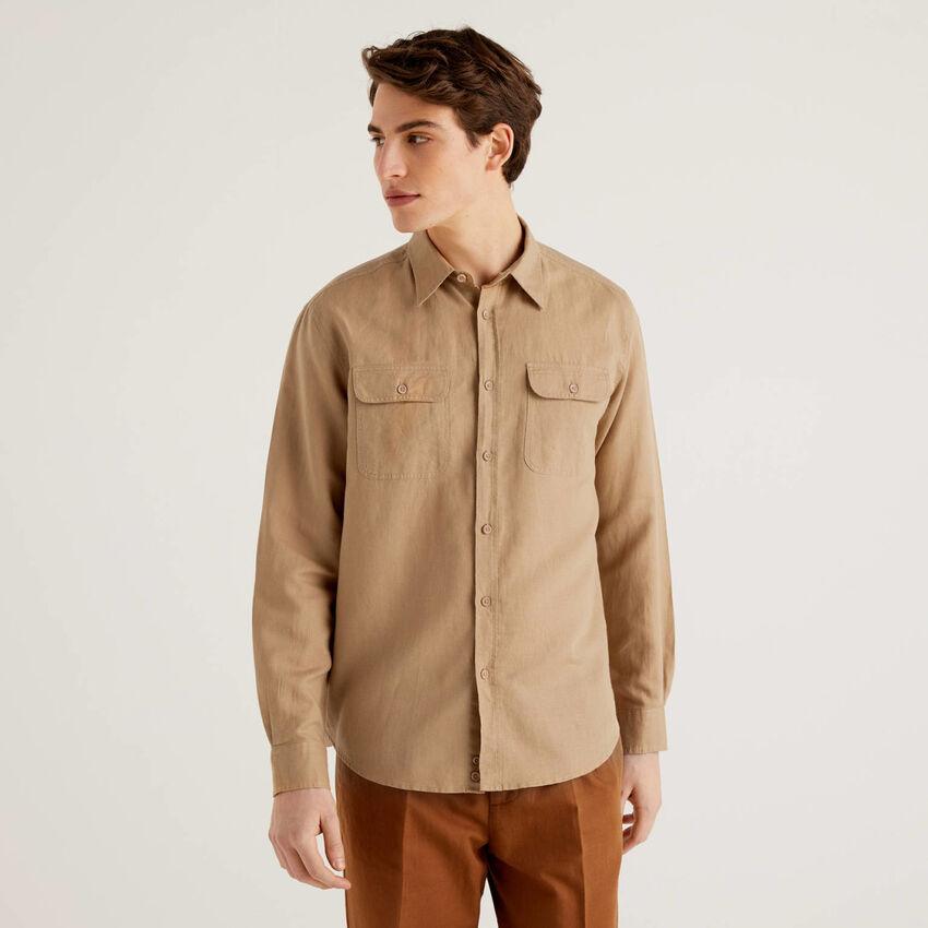 Regular fit shirt in linen blend cotton