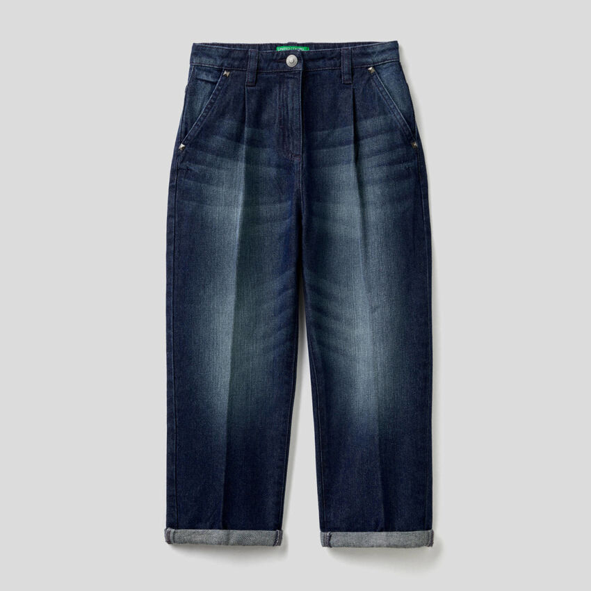 Mom fit jeans in 100% cotton denim