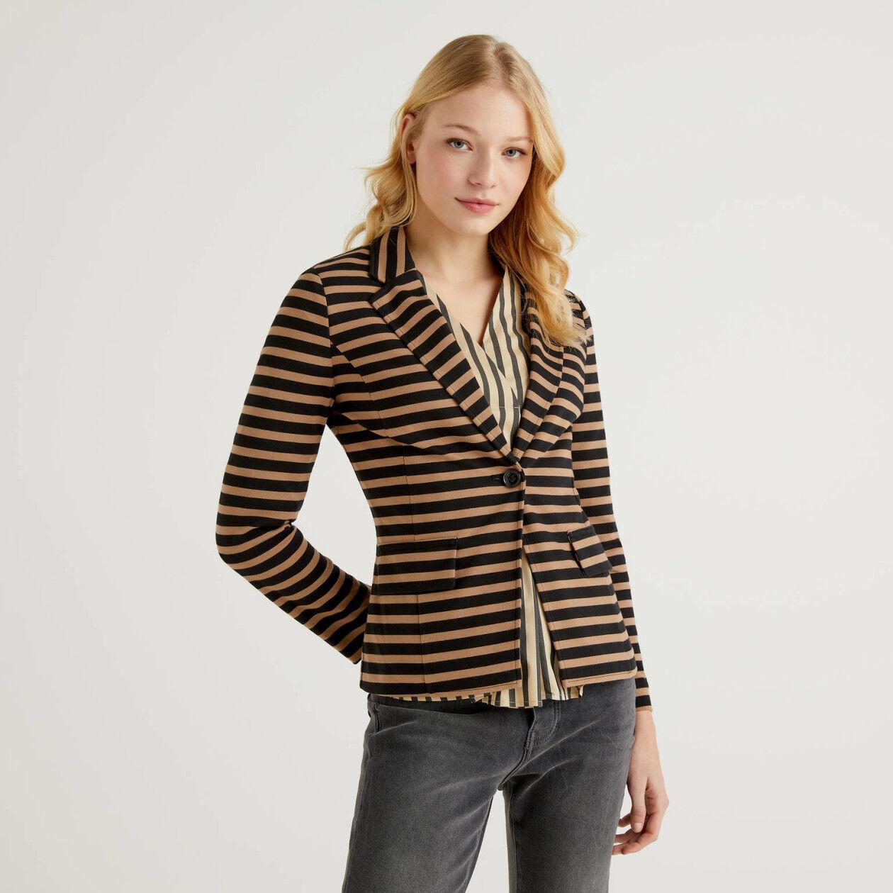 Black and beige striped blazer
