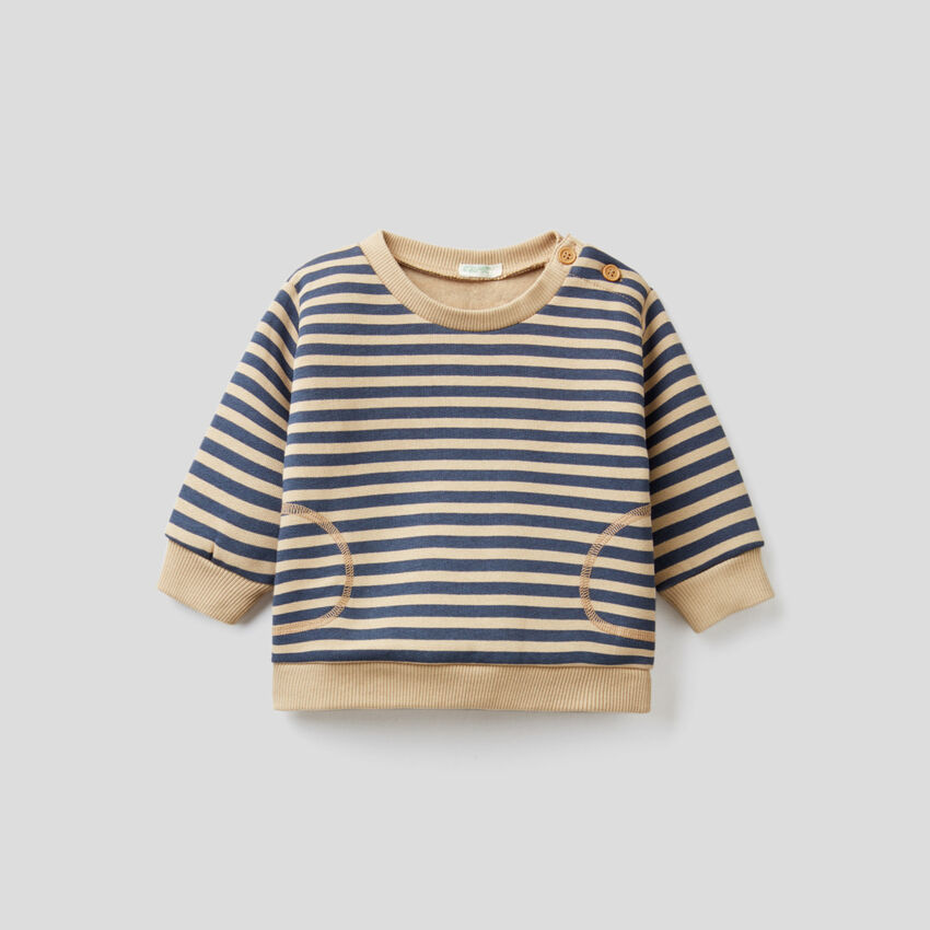 Striped sweatshirt with elbow patches