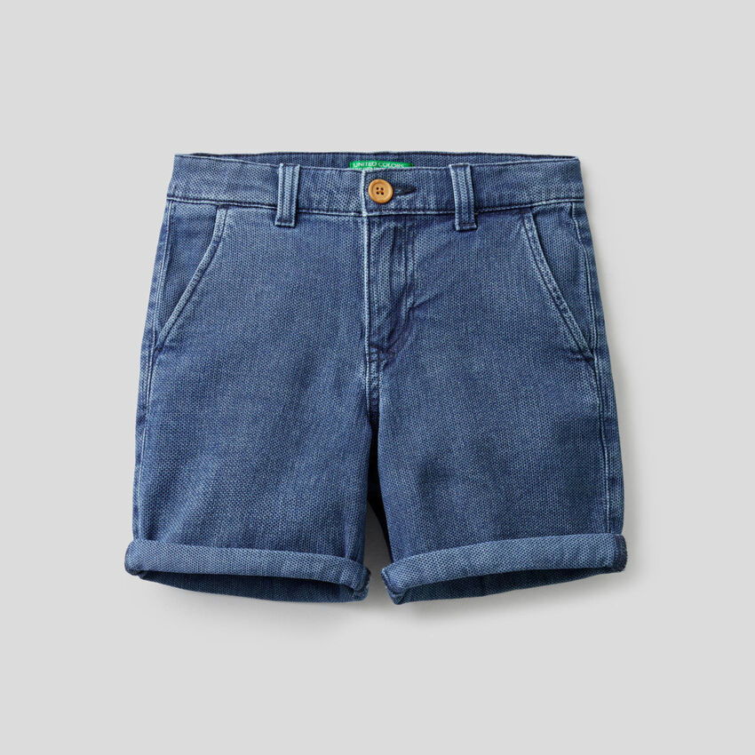 Shorts in stretch cotton denim