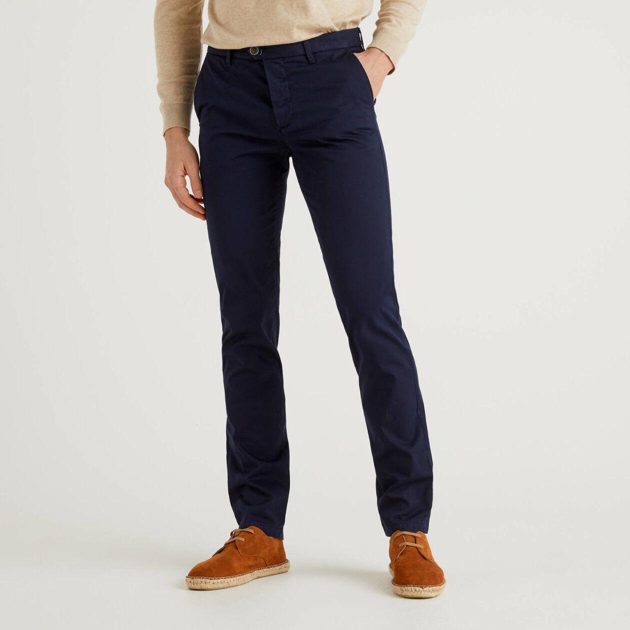 Dark blue slim fit stretch chino
