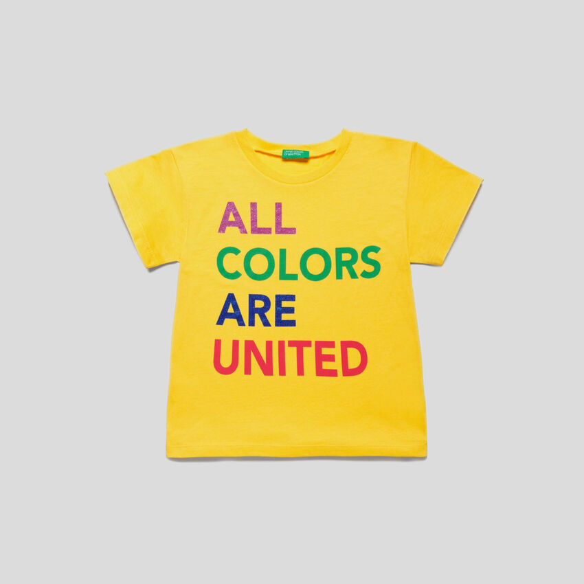 T-shirt with multicolor logo print