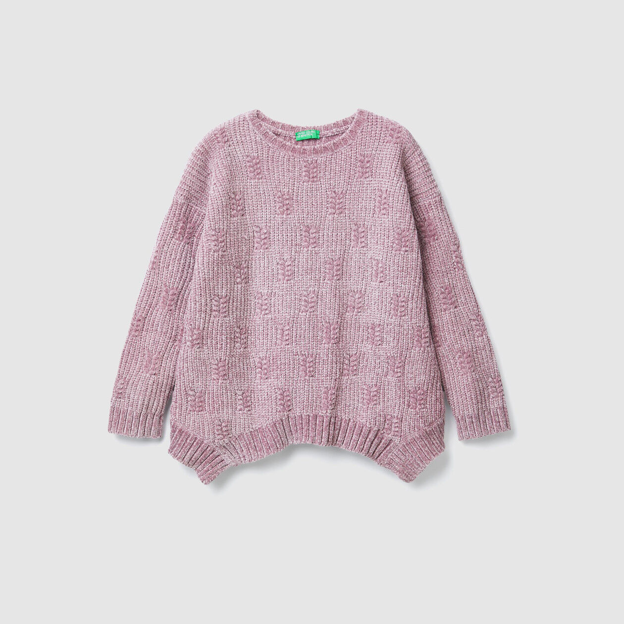 Uneven chenille sweater