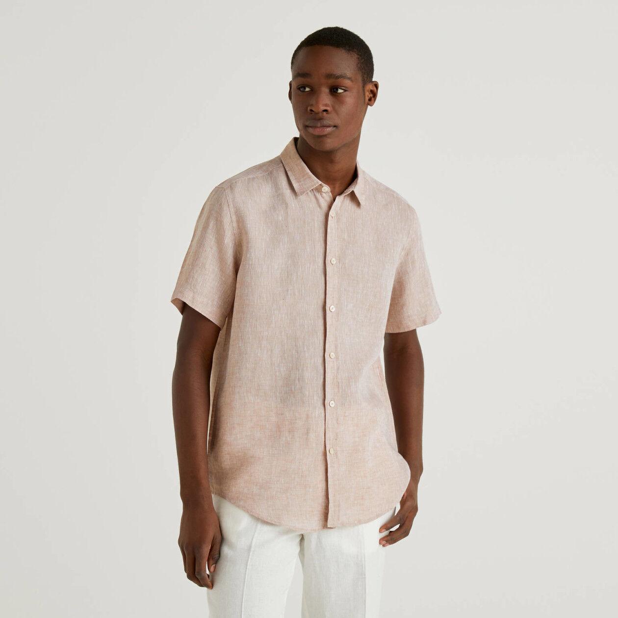 Camisa de manga corta de puro lino