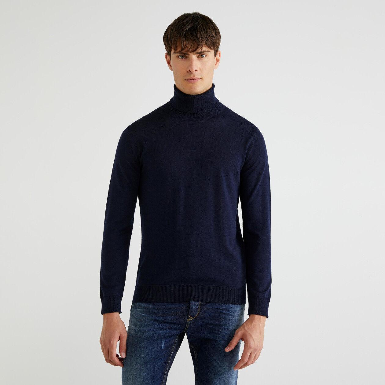 Jersey de cuello cisne de 100 % lana virgen