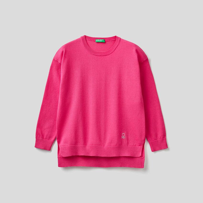 Sweater with rhinestone logo