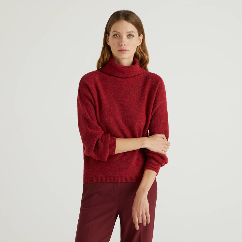 High neck sweater in wool blend