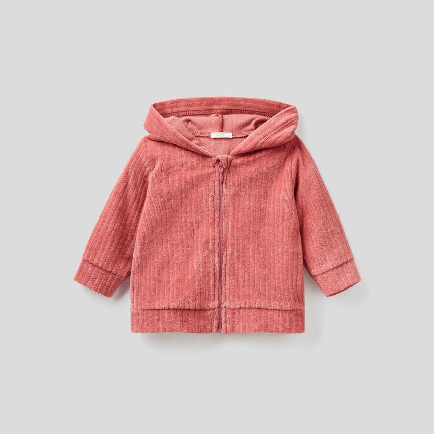 Sweatshirt in chenille with animal hood