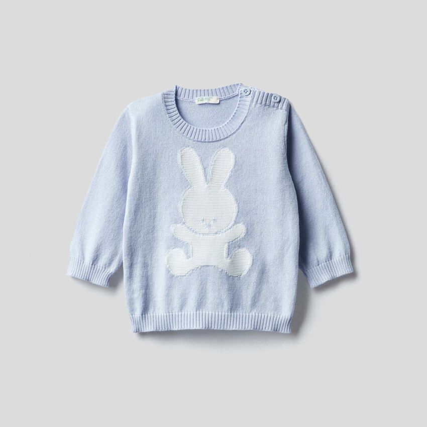 100% cotton sweater with inlay