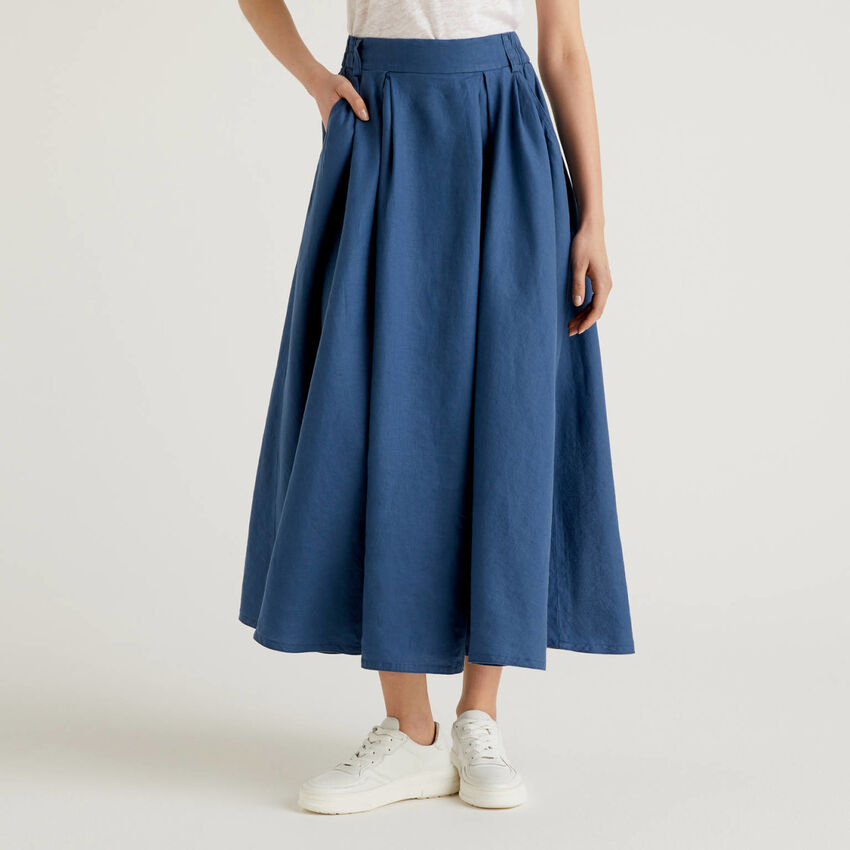 Long skirt in 100% linen