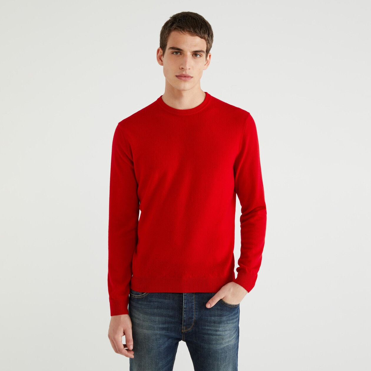 100% virgin wool crew neck sweater