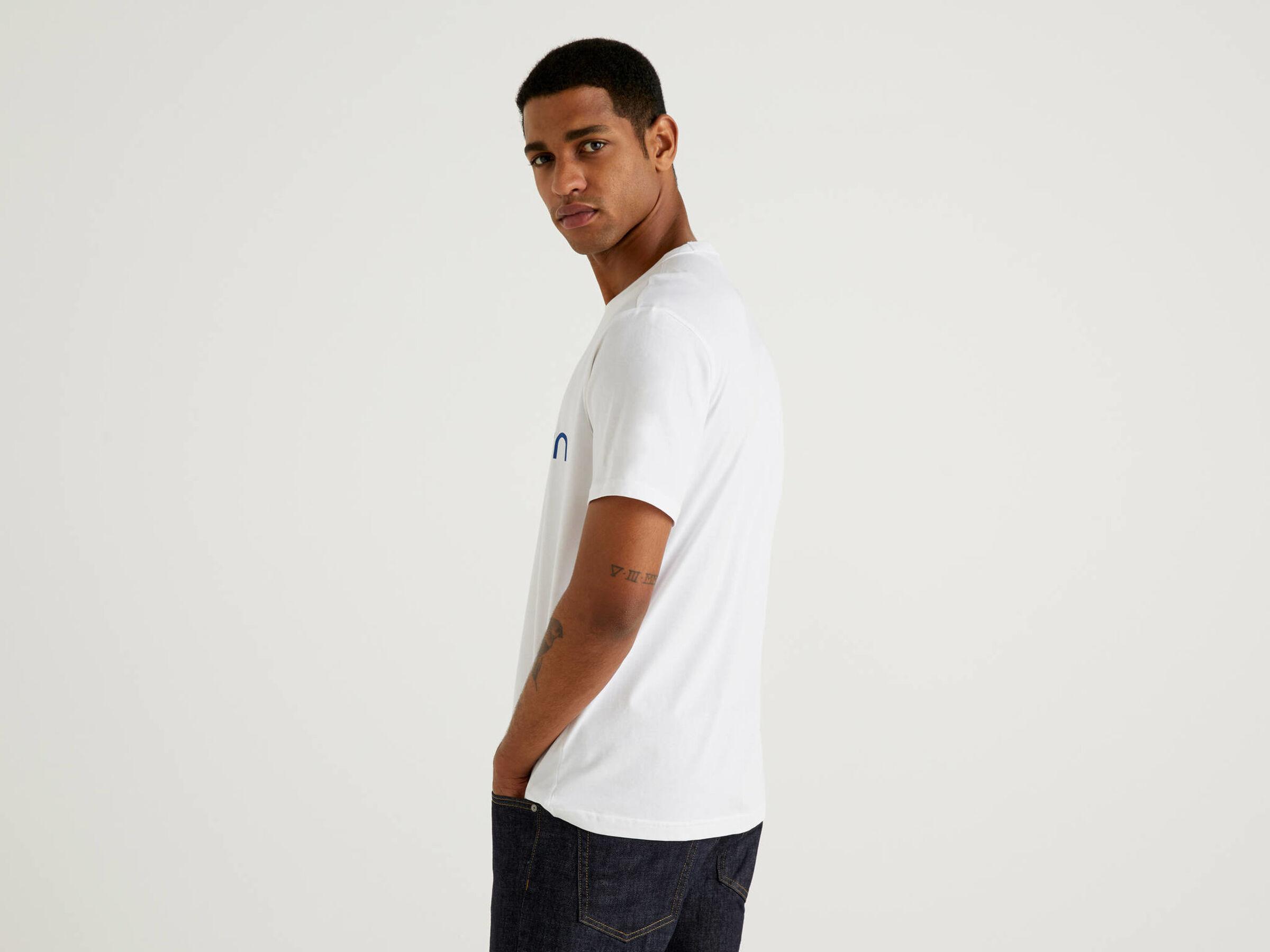 BNWT Benetton Box Logo T-Shirt White /& Green