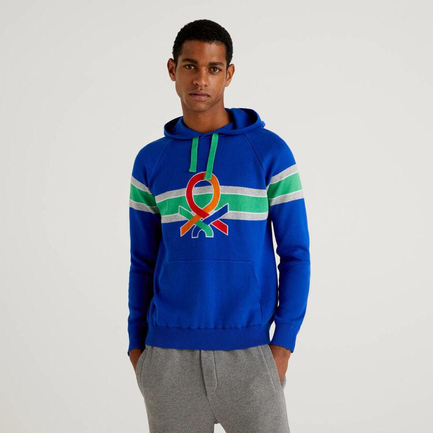Jersey con capucha y logo multicolor