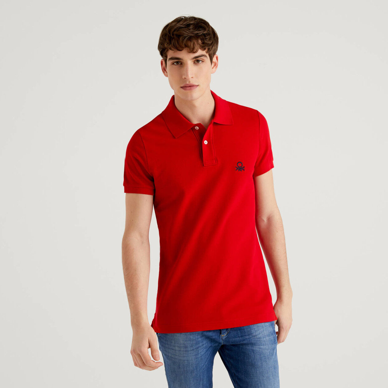 Red slim fit polo