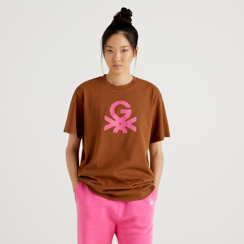 Brown unisex t-shirt with logo by Ghali