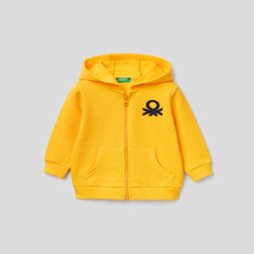 Zip-up hoodie in organic cotton