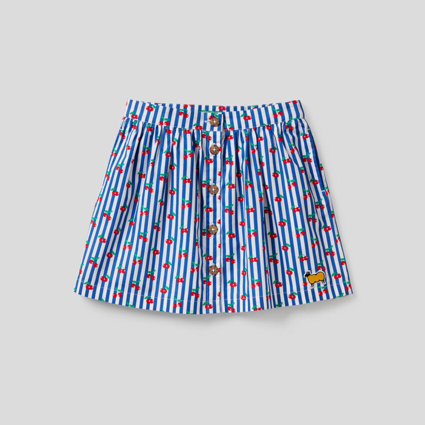 Printed skirt in pure cotton
