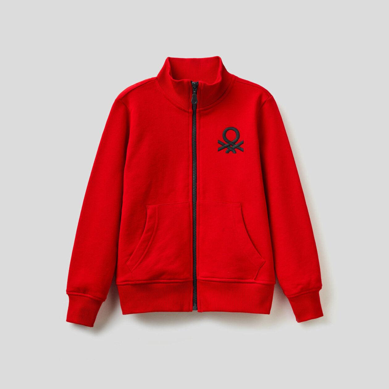 Sweatshirt with zip and maxi logo
